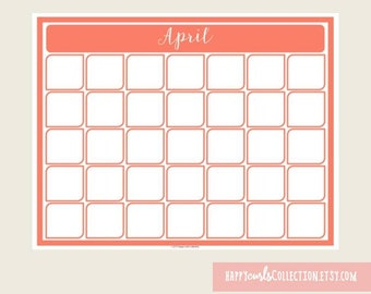 April Calendar {Printable} Instant Download // 8.5x11