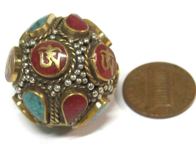 1 Bead - Large Oval ball shape Tibetan Om Brass filigree bead with turquoise coral inlay - BD428K