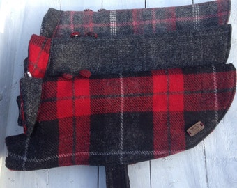 Harris tweed dog coat made to measure  waterproofed  and sherpa fleece lined Made to Order