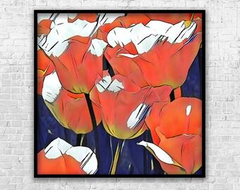 Tulips, Art Print, Printable Art, Digital Art, Instant Download, Wall Decor