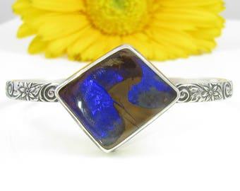 Boulder Opal Cuff Bracelet - Sterling Silver Australian Koroit Opal Cuff Bracelet - Floral Cuff Bracelet - Boholuxe Opal cuff bracelet