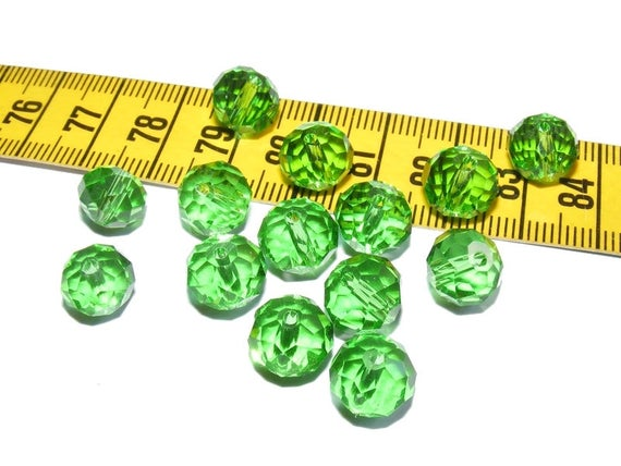 Abacus faceted 8mm Peridot x 10