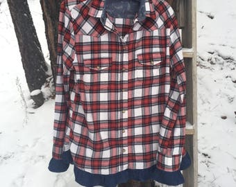 Upcycled Flannel Shirt With Denim Ruffle Trim Size Large Red Plaid