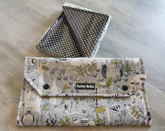 Nappy Wallet & Change Mat Set. Gorgeous Baby Shower Gift. Waterproof Change Mat.