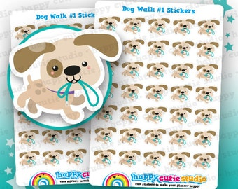 35 Cute Dog Walk/Walkies Planner Stickers, Filofax, Erin Condren, Happy Planner, Kawaii, Cute Sticker, UK