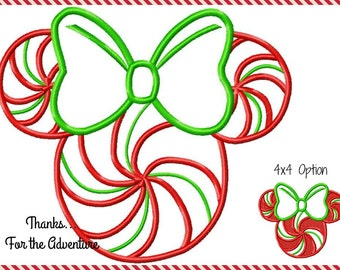 Christmas Peppermint Swirl Minnie Mouse Mouse Digital Embroidery Machine Applique Design File 3 inch 4x4 5x7 6x10