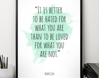 It is better  ..., André Gide , Alternative Watercolor Poster, Wall art quote, Motivational quote, Inspirational quote,