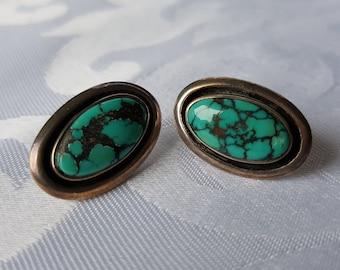 Sterling Silver Turquoise Earrings, Sterling and Turquoise Post Earrings, Turquoise Earrings, Sterling Earrings, Earrings