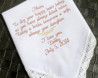 Mother of the Bride Embroidered handkerchief Wedding Gift and Keepsake.
