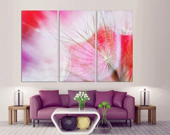 3 Panel  Canvas Split , Dandelion wall art, Photo Print on Canvas,  Triptych  Canvas, Interior design, Room Decoration, Photo gift, wall art