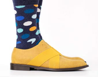 Men's Leather Shoes yellow Leather Oxford shoes for men handmade free shipping , ADIKILAV