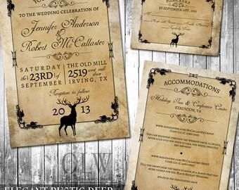 Rustic Wedding Invitation Suite | Deer, Wood, Fall, Hunter | Digital Invitation, RSVP and Accommodations Inserts Kraft paper |DIY Invite
