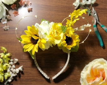 Yellow light-up spring floral mouse ears