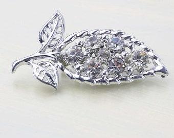 Vintage Crystal Leaf Brooch, Silver and Crystal Pin, Crystal Rhinestones, Bright Silver Leaf, Vintage Pin, Vintage Crystal Brooch