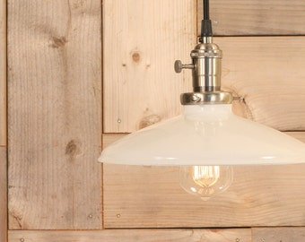 Hanging Pendant Light With White Enamel Shade