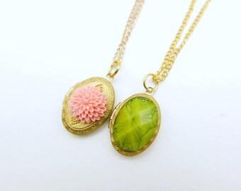 Flower Necklace,  Flower locket, rose locket