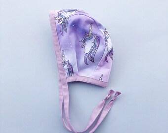 unicorn bonnet 6-12 months | baby bonnet | hat bonnet | baby girl bonnet | light weight bonnet cotton | unicorn hat