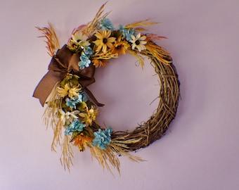 Front Door Wreaths, Wreath for Front Door, Sunflower Wreath, Yellow Blue Wreath, Daisy Wreath, Mums Wreath, Fall Wreath, Thanksgiving