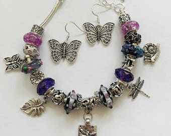 Dragonfly Bracelet, Spring Jewelry, Purple Dragonfly Bracelet, Handmade Gift For Her, Unique Jewelry Set, Bracelet for Women, Nature Jewelry