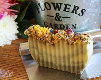 Handmade Enchanted Garden Soap Bar, floral soap, all natural, vegan, palm free, handcrafted