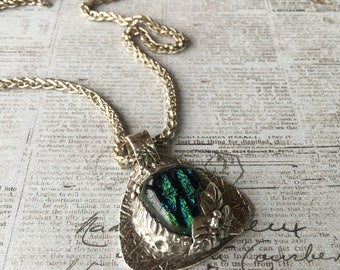 Silver sterling Dichroic blue glass pendant, leaf motif, statement necklace