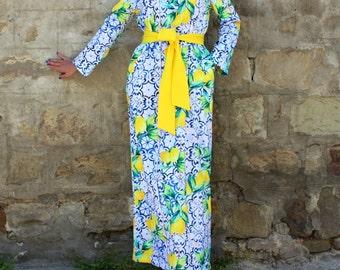 Blue dress, Yellow dress, Column dress, Maxi dress, Plus size dress, Dress with pockets, Elegant dress, Party dress, Long dress, 016.230