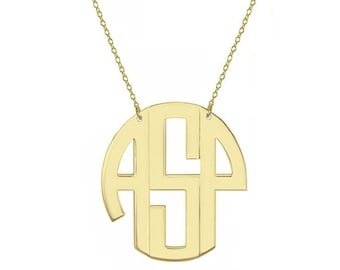 """Monogram necklace - personalize gold block monogram necklace 1"""" gold plated 18k on .925 silver"""