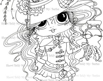INSTANT DOWNLOAD digitale Digi Stamps Big Eye Big Head poppen img133 Steampunk Bestie door Sherri Baldy