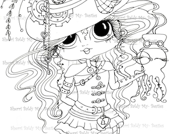INSTANT DOWNLOAD  Digital Digi Stamps Big Eye Big Head Dolls img133 Steampunk Bestie By Sherri Baldy