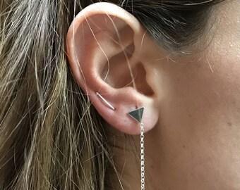 Folded stud earrings, Silver earring turn folded, Minimalist silver earrings, Minimal earrings, Stud silver earrings