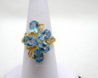 Ladies Yellow Gold Topaz Ring