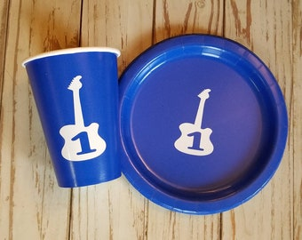 Guitar plates cups and napkins, rock and roll first birthday, guitar first birthday, music first birthday,  music party, guitar party,