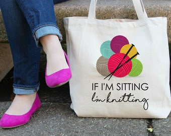 If I'm Sitting I'm Knitting XL Canvas Tote Bag