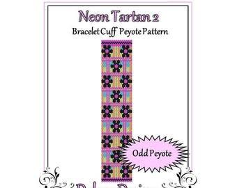 Bead Pattern Peyote(Bracelet Cuff)-Neon Tartan 2
