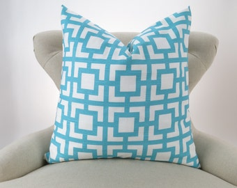 Coastal Blue & White Throw Pillow Cover -MANY SIZES- Blue Cushion, Geometric Pattern, Beach Costal Decor,  Euro Sham, GiGi Pemier Prints