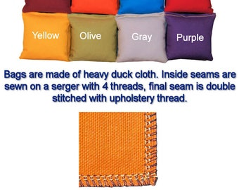 "CornGames - Cornhole Bags - Set of 8 - 6"" x 6"" Regulation Duck Cloth Corn Bags"