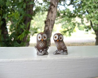Owls, ceramic miniature owls, set of two owls