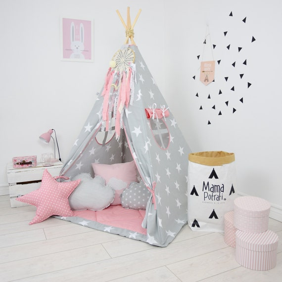 play teepee for kids powder pink teepee grey teepee tent. Black Bedroom Furniture Sets. Home Design Ideas