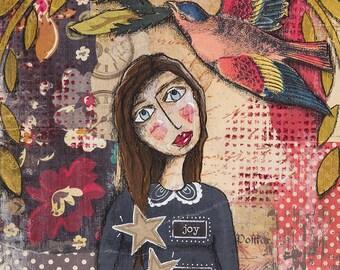 Joy,love,peace, art print, mixed media,collage