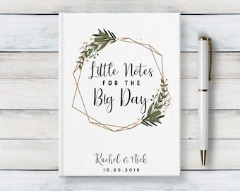 Custom wedding journal, Little notes for the big day, Writing Journal, custom hardcover notebook, personalized engagement gift, Blank Lined