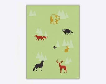 Wrapping Paper 'Forest Animals' // 3pcs. x 50x70cm