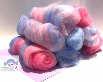 merfolk/rolags ready to spin woolen 100gms mix sock merino 75/25 colored beard-to-Dad/blue/pink/white sw/nylon