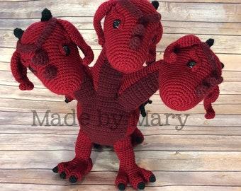 PDF Pattern: Three-Headed Dragon **Crochet pattern only, not actual doll!** Crochet Dragon