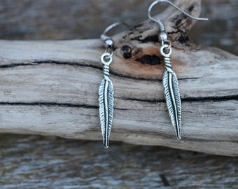 Bird Feather Charm Earring