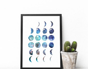 Moon Phases Printable,  Watercolor Printable, Lunar Phases Digital Download, Moon Printable, Printable art, instant Download