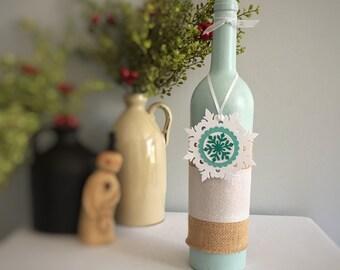 Wine Bottle Decor / Painted Wine Bottle / Ice Blue / Teal / White / Snowflake / Winter Decor / Christmas Decor / Holiday Party Decor