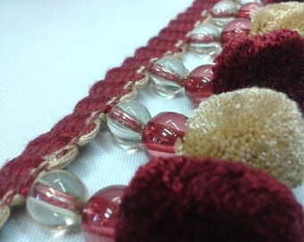 Dark Red And Gold Pom Pom Trim By The Yard