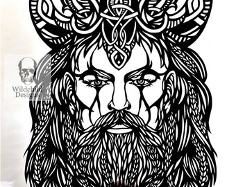 Vadim The Viking Paper Cutting Template, Personal Use, Vinyl Template, SVG, JPEG, Norse God Template, Odin, Viking Template, Celtic Template