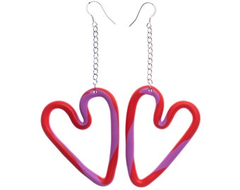 Heart-shaped red and pink dangle statement earrings, sterling silver and polymer clay