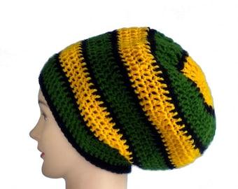 Jamaica hat, dreadlock crown beanie, slouchy rasta beanie, black hair accessories